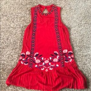 Red Hot Embroidered Mini Dress!